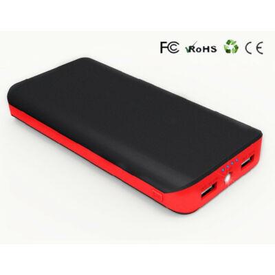 Powerbank 20000mAh USB fekete utazó/hordozható külső akku/akkumulátor