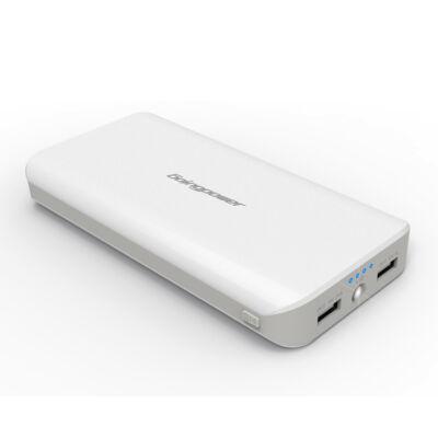 Powerbank 20000mAh USB fehér utazó/hordozható külső akku/akkumulátor
